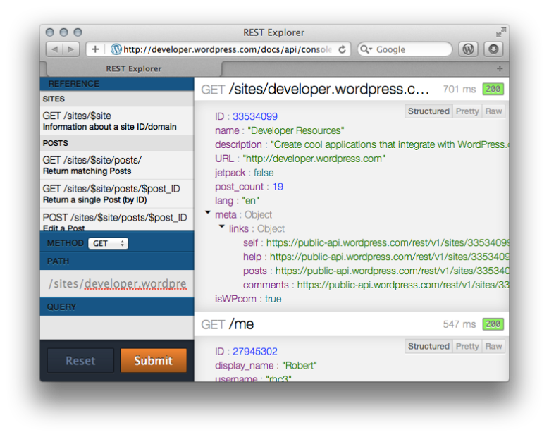 Screenshot of the REST API Explorer
