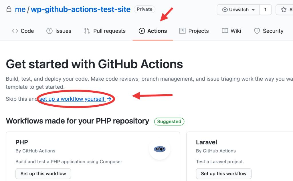 Creating GitHub Action workflow example screenshot