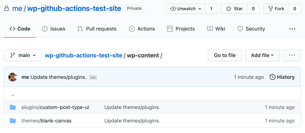 Creating GitHub repo example screenshot