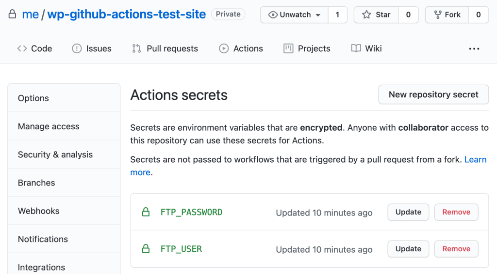 GitHub Actions secrets settings in workflow