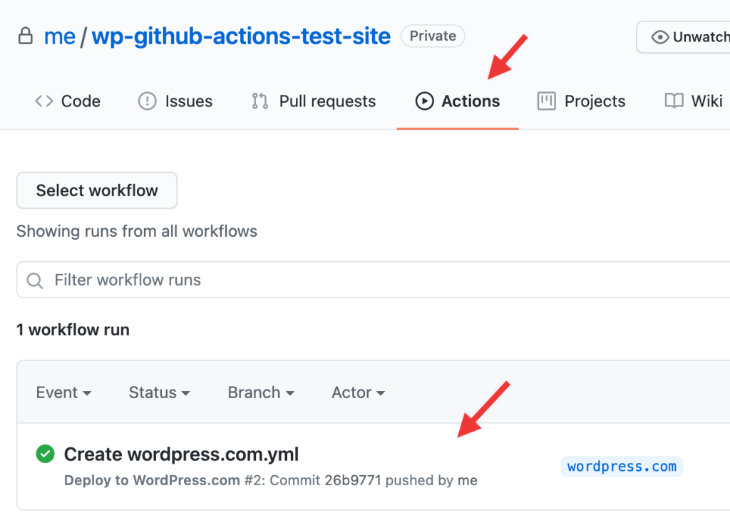GitHub Actions workflow ran success screen within repository