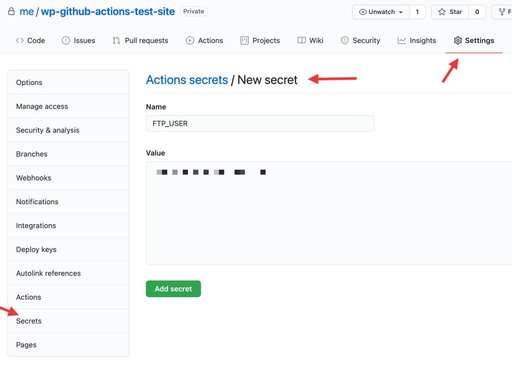 GitHub Actions workflow secret example screenshot
