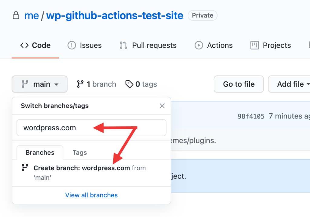 GitHub repo branch structure example screenshot